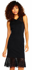 Adrianna Papell Cross Neck Mermaid Midi Dress With Sheer Lace Accents Black