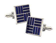 Blue Enamel and Silver Mens Office Birthday Gift Cuff links by CUFFLINKS DIRECT