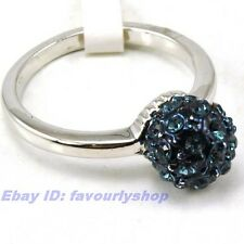 SIZE 7.5# CZ FLOWER BALL 18K WHITE GOLD PLATED RING FILL GEP 9999r