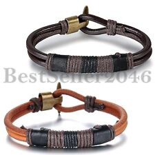 Vintage Tribal Braided Multilayer Leather Rope Mens Womens Bangle Cuff Bracelet