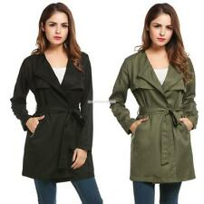 Women Long Sleeve Solid Casual Wrap Belted Lightweight Cape Trench Coat EN24H 03