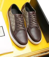 NEW Brown Lace Up Leather Casual Shoes Men's Sneakers Fashion Low Tops