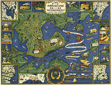 1921 Map Portland Maine and Surroundings School Map Vintage History Wall Poster