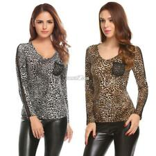 Women Casual V-Neck Long Sleeve Leopard Pullover Slim Sexy Blouse T-shirt RR6