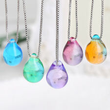 Beach Sea Clear Glass Mermaid's Tear Water Droplets Pendant Necklaces For Women