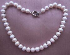 """Huge 11-12 mm AAA White Freshwater Cultured Pearl Necklace 17""""-18""""."""