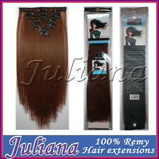 100g 16''~22'' Virgin Remy 7pcs Clip In 100% Real Human Hair Extensions Auburn