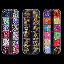 3D Nail Art Decoration Tips Acrylic Sequins Rhinestones Glitters Beads Manicure