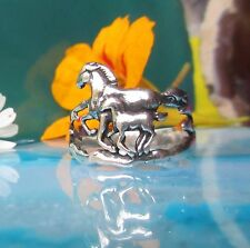 Ж Ring Horse Two Horse Foal Playing Herd Sterling Silver 925 Plastic
