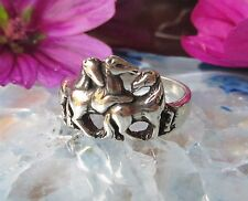 Ж Ring Horse Three Horse Foal Playing Herd Sterling Silver 925 Plastic