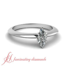 1/2 Carat Marquise Cut SI1-E Color Diamond Knife Edge Solitaire Engagement Ring