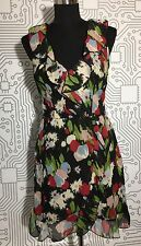 Mimi-Chica-Black-Floral-Print-Faux-Wrap-Ruffel-Waisted-Dress-Sz S $58 C-053