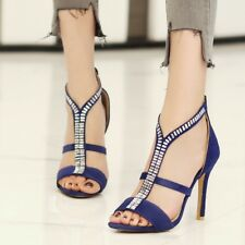 EU 34-43 Women Sandals Open Toe Suede Stiletto High Heels Crystals Party Shoes
