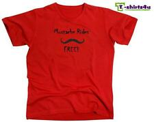 MUSTACHE RIDES FREE Funny Stache Sex Dirty Party Tee - T-Shirt - NEW - Red