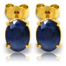 14K Solid Gold Stud Earrings Sapphires