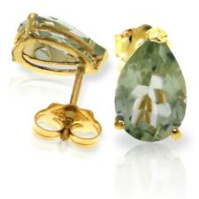 14K Solid Gold Stud Earrings Green Amethysts