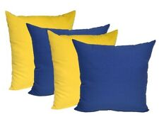 Qty 4 - In / Outdoor Decorative Square Pillows - Solid Royal Blue & Solid Yellow