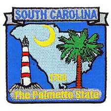 South Carolina State Map 3 in Embroidered Iron On Patch