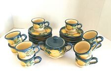 22 Piece Set Ceram Vietri Lemons Demitasse Set 10 Cups Saucers Sugar Bowl ITALY