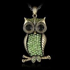 1Pc Vintage Gold Crystal Rhinestone Owl Pendant Necklace Long Sweater Chain Gift