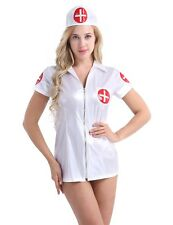 Women Faux Leather Sexy Nurse Fancy Dress Cosplay Club Outfit Costume Lingerie