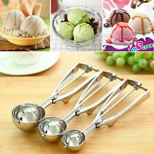 Ice Cream Spoon Stainless Steel Spring Handle Masher Cookie Scoop GT