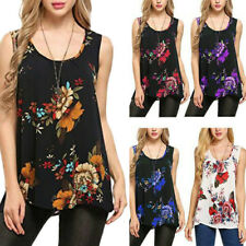 Women Sleeveless Floral Vest Tops Summer Ladies Plus Size Casual Blouse T Shirt