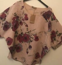 Italian Quality 100%linen Oversized Lagenlook Top With Flowers Pink one size