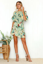 Women's Floral Print Round Neck Flare Short Sleeve Tie-Bow A-Line Ruffled Dress