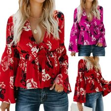 Women's Print V Neck Long Flare Sleeves Tie Belted Waist Bow Tops Blouses Size #