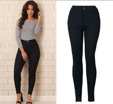 Women's Solid Skinny High Waist Butt Lift Bodycon Jeans Washed Denim Pants