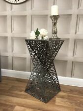 Silver Twisted Art Deco Metal Table Lamp Side Plant Home Vintage Decor