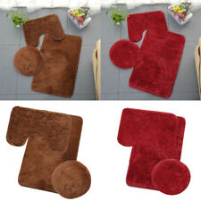 3PC Bathroom Set Rug Contour Mat Toilet Lid Cover