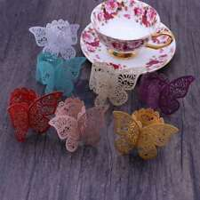 5pcs Paper Napkin Ring 3D Butterfly Creative Decorative Napkin Bands for Evening