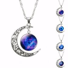 Fashion Jewelry Choker Glass Galaxy  Lovely Pendant Silver Chain Moon Necklace