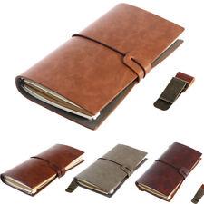 Retro Vintage Notebook Journal Diary Leather Pocket Notepad with Clips