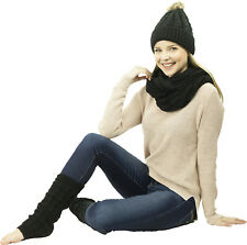 Exotic Identity Pom Pom Hat, Infinity Scarf, and Leg Warmers Cable Knit 3-Pie...