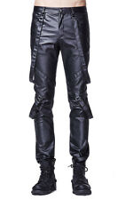 Black pants man falsely leather with webbing/ straps gothic rock Punk Rave