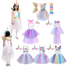 Girls Kids Rainbow Dress Fairy Tale Costume Cosplay Party Birthday Dress Up Set