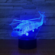 Helicopter 3D illusion Visual Unicorn Horse Night Light 7 Colors LED Desk Home