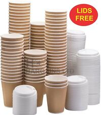 100 X Kraft triple walled disposable paper ripple cups + LIDS FOR FREE UK