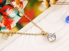 Simple Fashion Jewelry Silver & Gold Round  CZ Cubic Zirconia Pendant Necklace