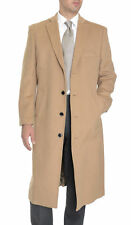 Mens Single Breasted Full Length Wool Cashmere Blend Overcoat Top Coat
