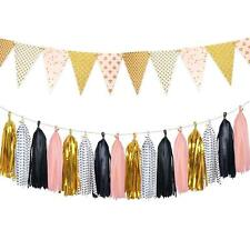 15 pcs Paper Pennant Banner Tissue Paper Tassels Garland Triangle Flags Bunting