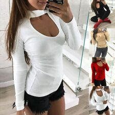 Fashion Women Casual Long Sleeve T-shirt Sexy Turtleneck Slim Fit Blouse Tops