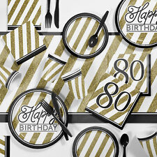 Creative Converting Black and Gold Birthday Party Supplies Kit