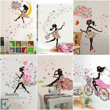 DIY Lovely Pink Girl Art Wall Stickers For Kids Rooms PVC Wall Decals Home Decor