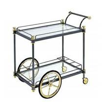 Serving Cart with Glass Top in Black and Gold Finish [ID 3871941]