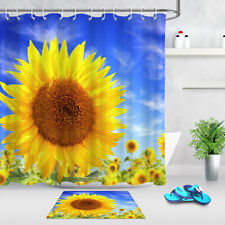 "72x72"" Blooming Sunflowers Blue Sky Fabric Shower Curtain Set Bathroom w/ Hooks"