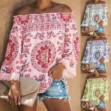 Women Off The Shoulder Short Sleeve Tops Trim Tassel Loose Shirt Blouses New
